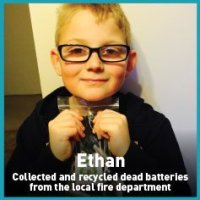 Ethan recycled batteries