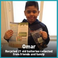 Omar recycled batteries